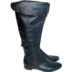 Sergio Rossi Tall Riding Boots Pebbled Leather